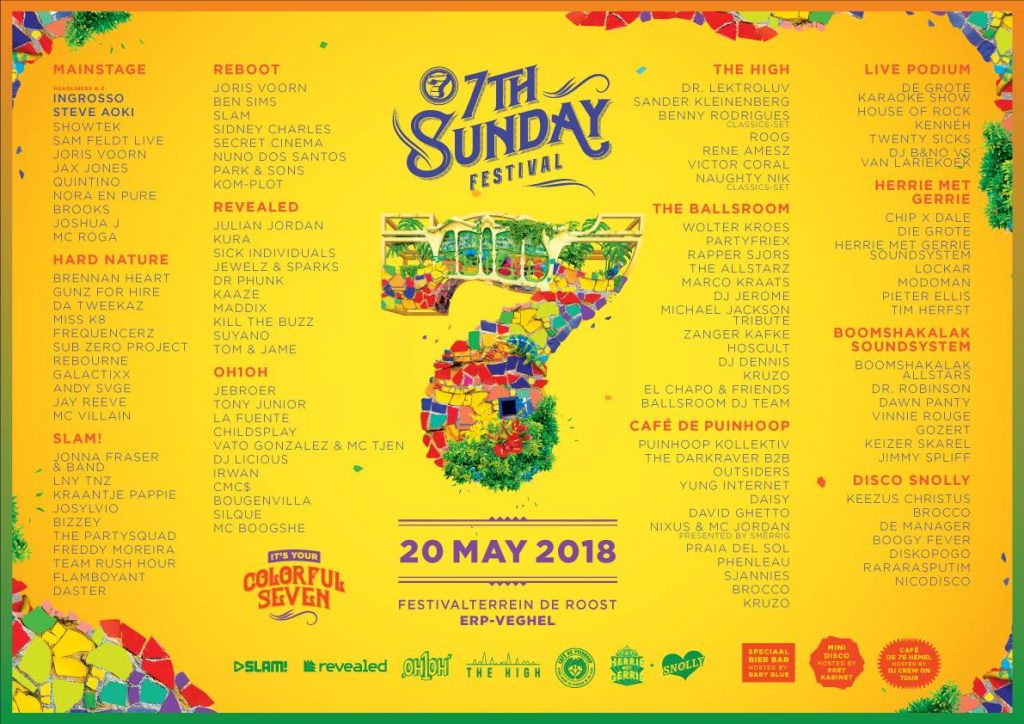 7th Sunday 2018 line-up
