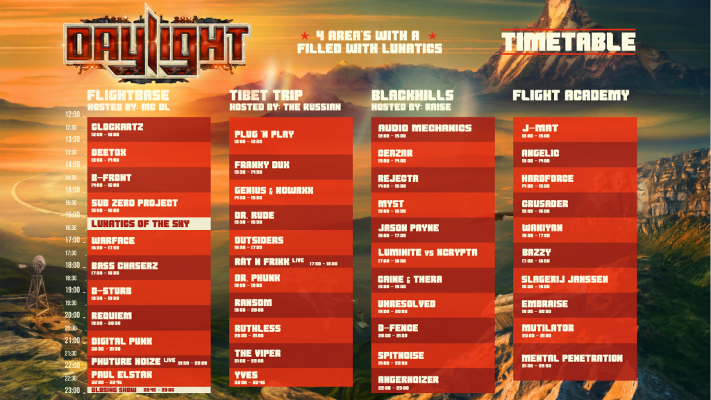 Timetable Daylight Festival
